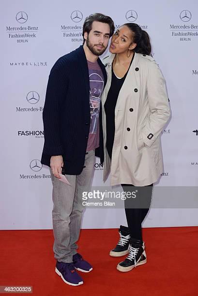 Stephan Kocijan and Cassandra Steen attend the Umasan show during MercedesBenz Fashion Week Autumn/Winter 2014/15 at Brandenburg Gate on January 17...