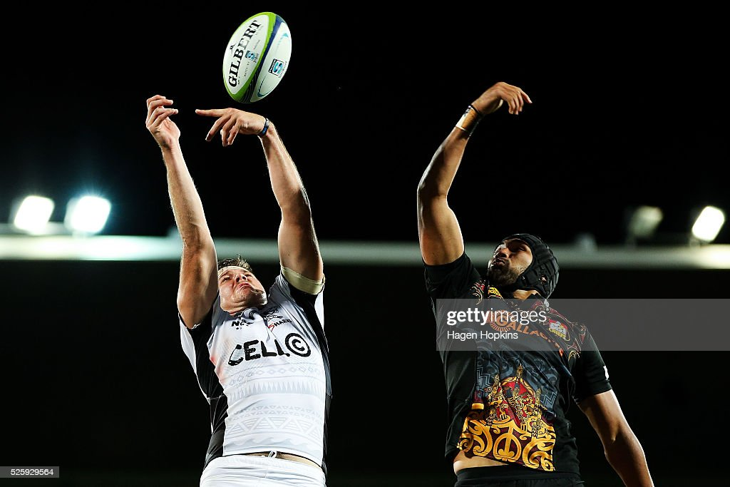 Stephan Lewies of the Sharks and Taleni Seu of the Chiefs compete for a lineout ball during the round 10 Super Rugby match between the Chiefs and the Sharks at Yarrow Stadium on April 29, 2016 in New Plymouth, New Zealand.