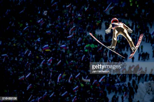 Stephan Leyhe of Germany competes in the first run of flying hill team competition of the FIS Ski Jumping World Cup at Planica on March 19 2016 in...