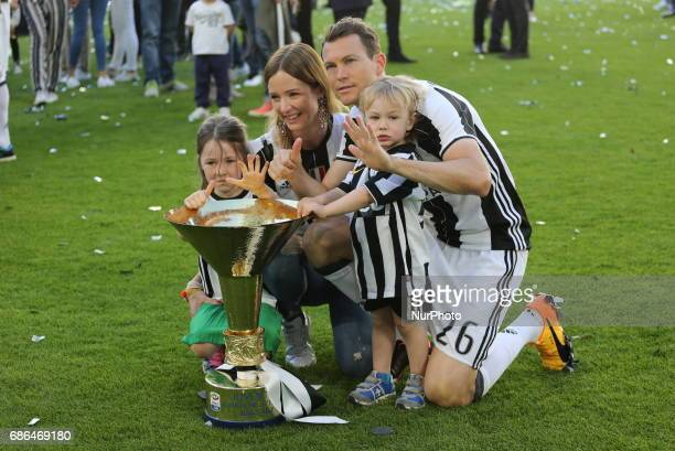 Stephan Lichtsteiner and her family celebrate the victory of the Italian championship 2016/17 after the Serie A football match between Juventus FC...