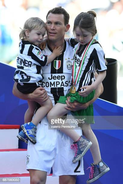 Stephan Lichtsteiner of Juventus FC and family celebrate after the beating FC Crotone 30 to win the Serie A Championships at the end of the Serie A...
