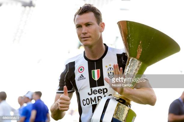 Stephan Lichtsteiner of Juventus FC celebrates the victory of the Italian Serie A 'Scudetto' at the end of the Serie A football match between...