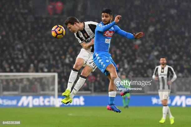 Stephan Lichtsteiner of Juventus FC in action against Lorenzo Insigne of SSC Napoli during the TIM Cup match between Juventus FC and SSC Napoli at...