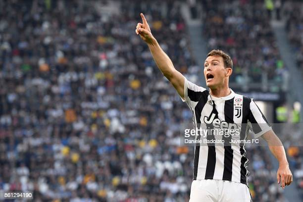 Stephan Lichtsteiner of Juventus gestures during the Serie A match between Juventus and SS Lazio on October 14 2017 in Turin Italy
