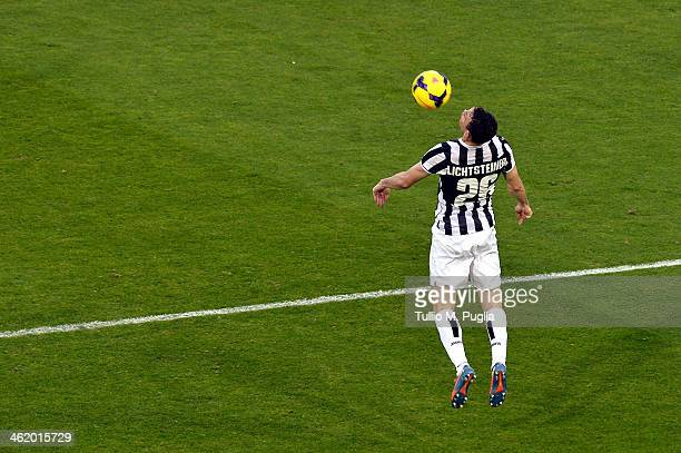 Stephan Lichtsteiner of Juventus in action during the Serie A match between Cagliari Calcio and Juventus at Stadio Sant'Elia on January 12 2014 in...