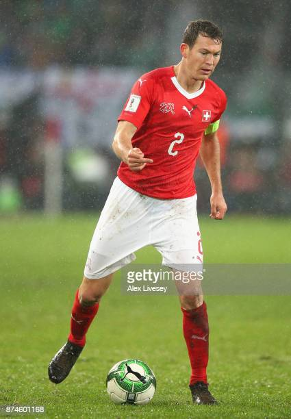 Stephan Lichtsteiner of Switzerland controls the ball during the FIFA 2018 World Cup Qualifier PlayOff second leg match between Switzerland and...