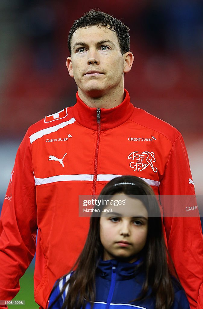 <a gi-track='captionPersonalityLinkClicked' href=/galleries/search?phrase=Stephan+Lichtsteiner&family=editorial&specificpeople=709876 ng-click='$event.stopPropagation()'>Stephan Lichtsteiner</a> of Switzerland lines up ahead of the International Friendly match between Greece and Switzerland at Karaiskakis Stadium on February 6, 2013 in Athens, Greece.