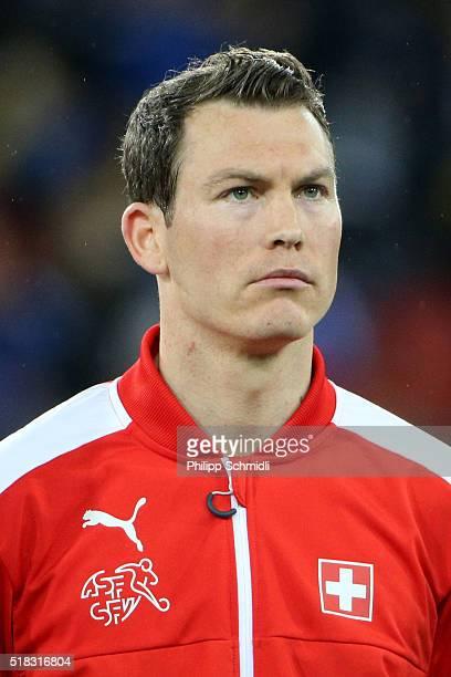 Stephan Lichtsteiner of Switzerland looks on prior to the international friendly match between Switzerland and BosniaHerzegovina at Stadium...