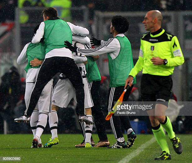 Stephan Lichtsteiner with his teammates of Juventus FC celebrates after scoring the opening goal during the TIM Cup match between SS Lazio and...