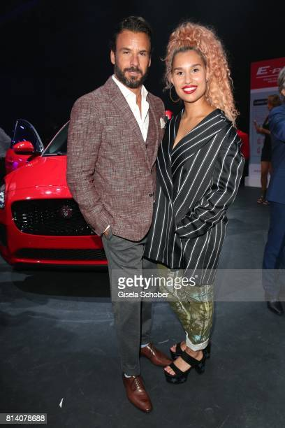 Stephan Luca and singer Raye during the Jaguar Land Rover global reveal and presentation of the premium compact SUV 'EPACE' car at ExCel on July 13...