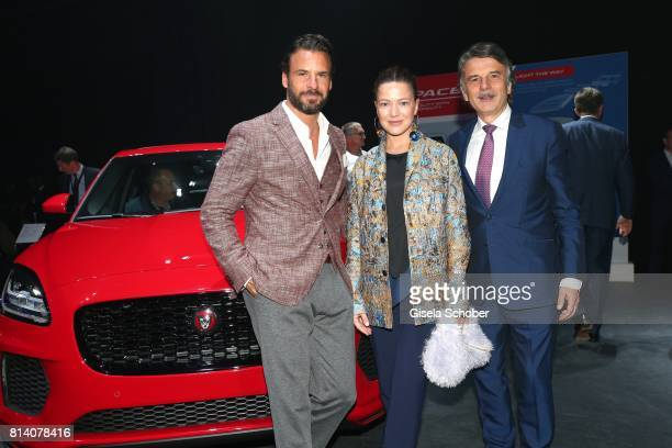 Stephan Luca Hannah Herzsprung and Dr Ralf Speth CEO Jaguar Land Rover during the Jaguar Land Rover global reveal and presentation of the premium...
