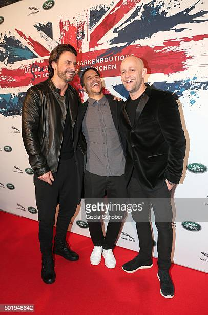 Stephan Luca Kostja Ullmann and Juergen Vogel during the opening of the Jaguar Land Rover Boutique on December 18 2015 in Munich Germany