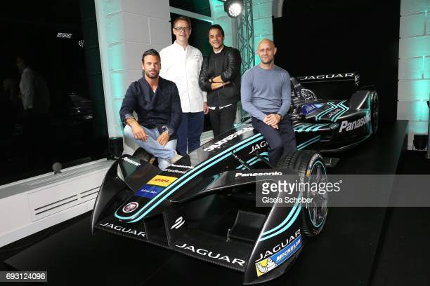 Stephan Luca star cook Holger Stromberg Kostja Ullmann and Juergen Vogel during the Jaguar Land Rover presentation of the 'IPACE' car concept at...