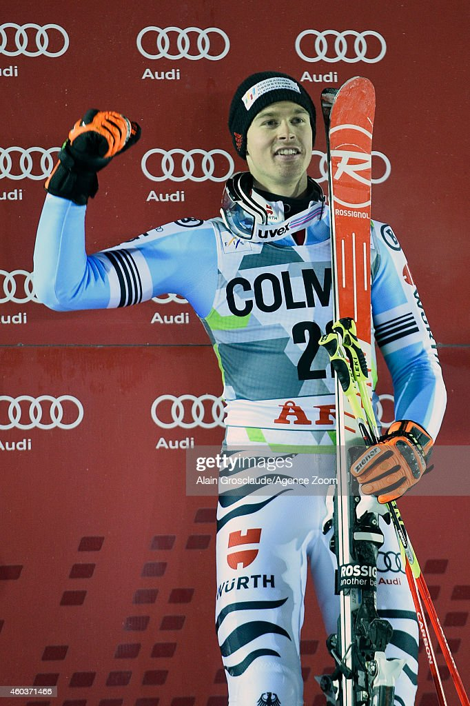Stephan Luitz of Germany takes 3rd place during the Audi FIS Alpine Ski World Cup Men's Giant Slalom on December 12, 2014 in Are, Sweden.
