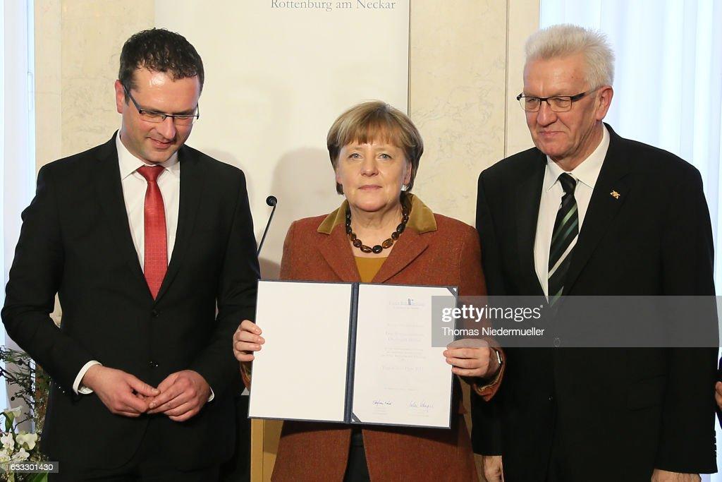 Merkel Receives Eugen Bolz Award For Her Refugees Policy