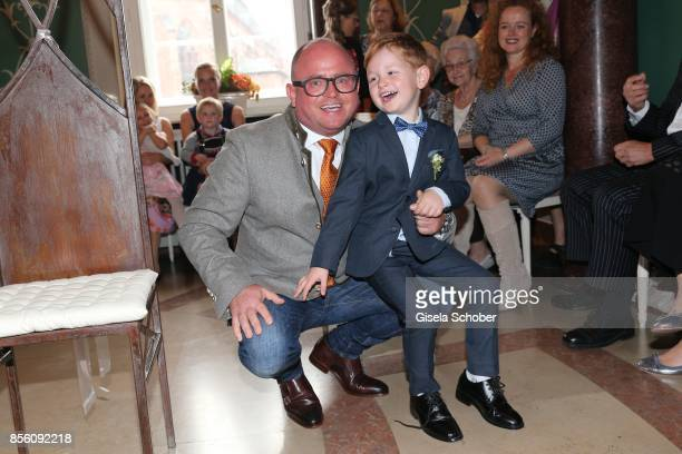 Stephan Ohneck best man and brother of Katja Ohneck and his nephew Maris Atalay son of Erdogan and Katja during the civil wedding of Erdogan Atalay...