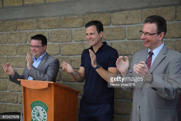 Stephan Osnabrugge Oliver Bierhoff team manager of the German national team and Christoph Huber head of the Latin America team at Kindermissionswerk...