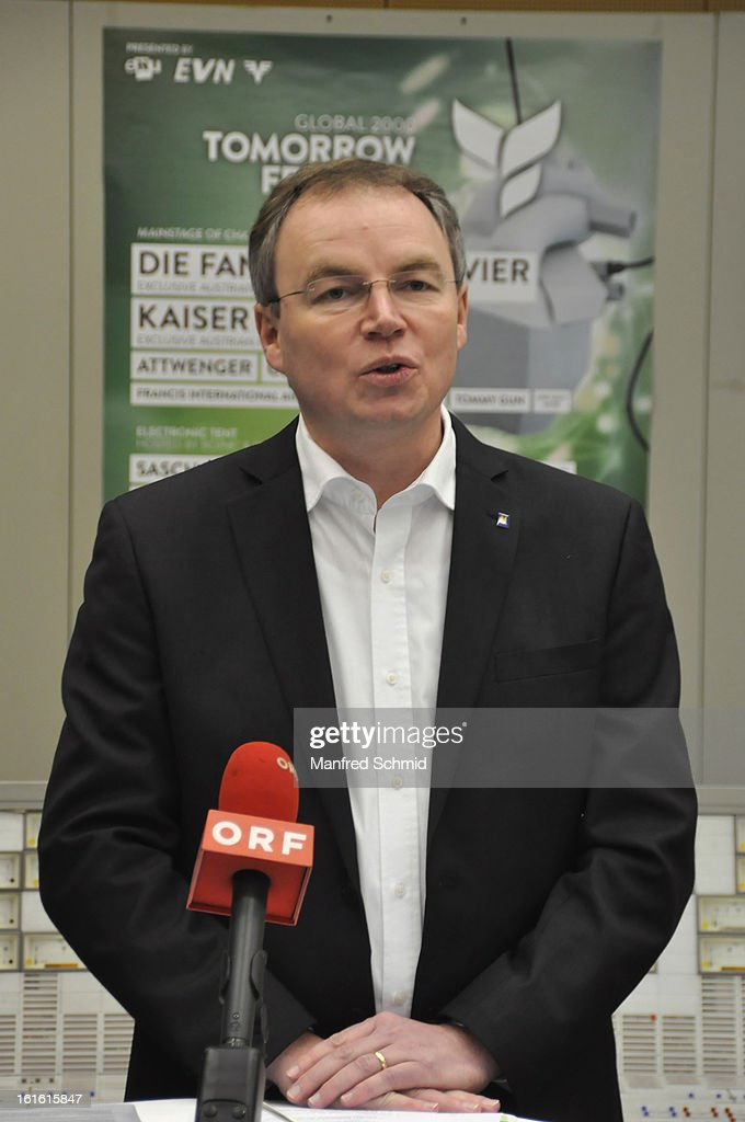 Stephan Pernkopf speaks to the audience during the 'Global 2000 Tomorrow Festival' press converence at nuclear power station AKW Zwentendorf on February 11, 2013 in Zwentendorf, Austria. The nuclear power station Zwentendorf was the power plant that never went into operation.