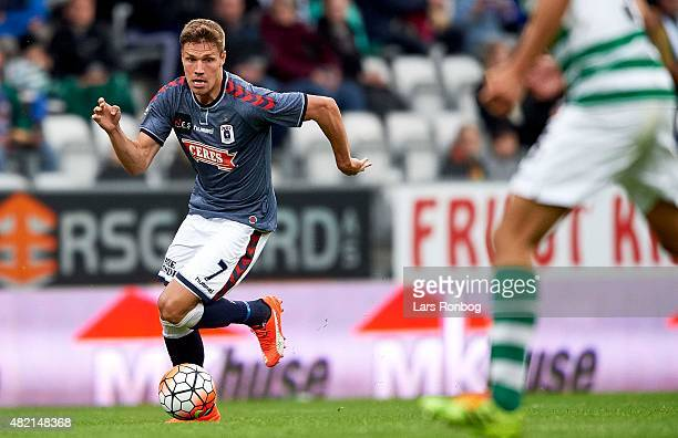 Stephan Petersen of AGF Aarhus controls the ball during the Danish Alka Superliga match between Viborg FF and AGF Aarhus at Energi Viborg Arena on...