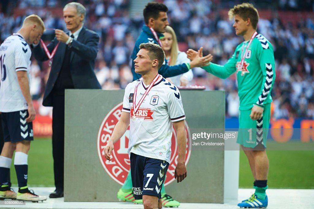 Stephan Petersen of AGF Arhus receive silver after the DBU Pokalen Cup Final match between AGF Arhus and FC Copenhagen at Telia Parken Stadium on May 05, 2016 in Copenhagen, Denmark.