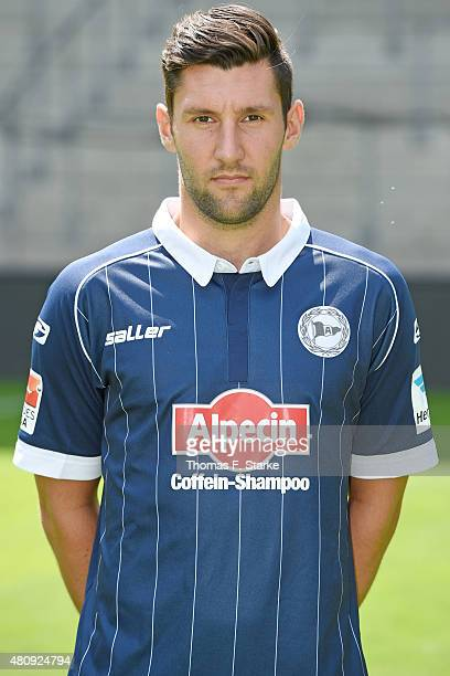 Stephan Salger poses during the Second Bundesliga team presentation of Arminia Bielefeld at Schueco Arena on July 16 2015 in Bielefeld Germany