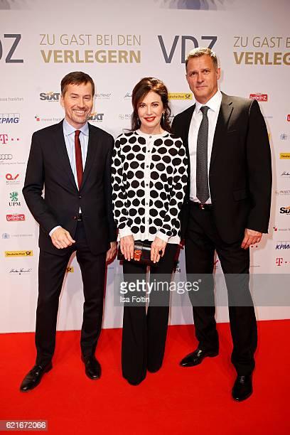 Stephan Scherzer Iris Berben and Heiko Kiesow during the VDZ Publishers' Night 2016 at Deutsche Telekom's representative office on November 7 2016 in...