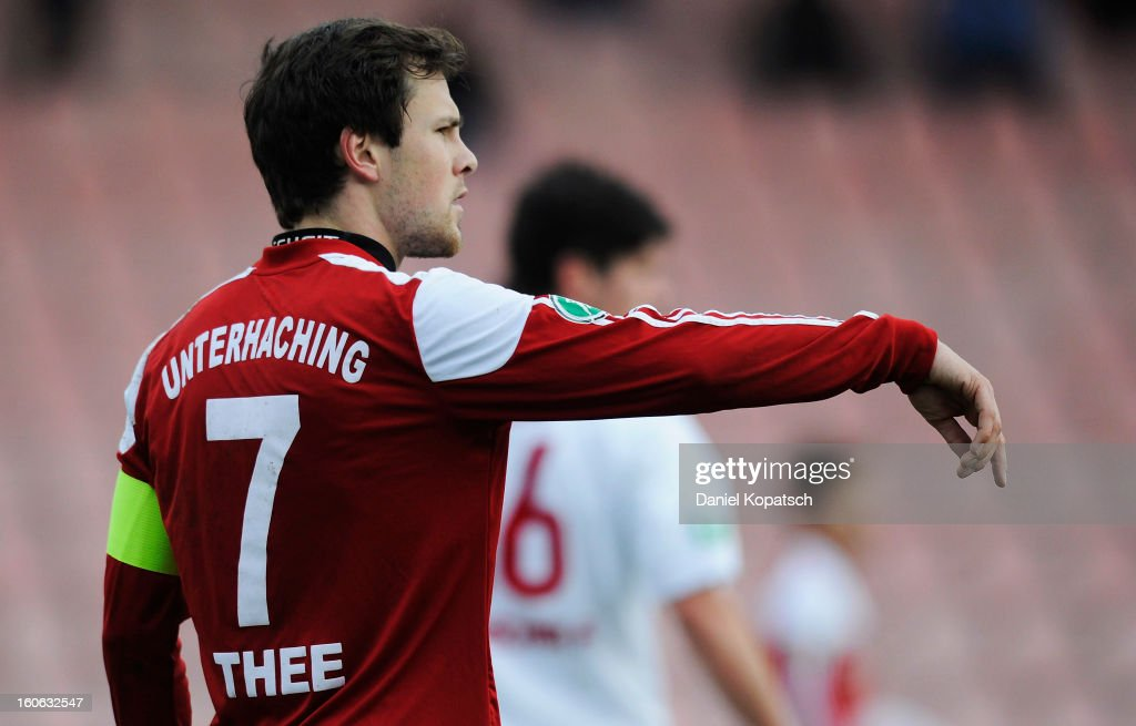 Stephan Thee of Unterhaching reacts during the third Bundesliga match between SpVgg Unterhaching and Hallescher FC on February 3, 2013 in Unterhaching, Germany.