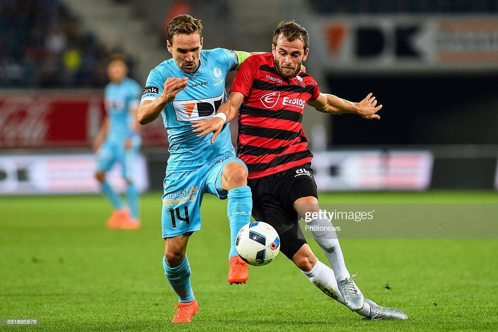 STephan Vujcic and Sven Kums during the Uefa Europa League match between KAA Gent and KF Shkendija In the Ghelamco Arena Gent Belgium via Getty Images