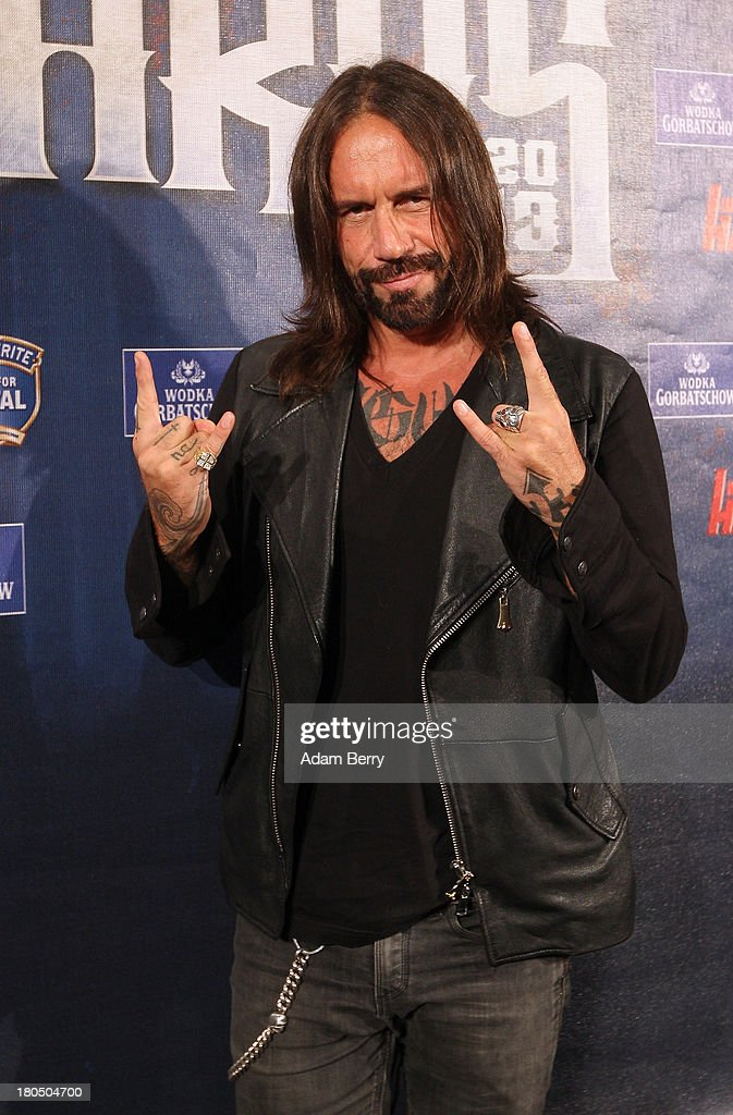 Stephan Weidner, often called 'Der W,' former leader of the German hard-rock band Boehse Onkelz, arrives for the fifth Metal Hammer Awards at Kesselhaus on September 13, 2013 in Berlin, Germany. The annual prizes are given by Metal Hammer, a German music magazine specialized in Heavy Metal and Hard Rock.