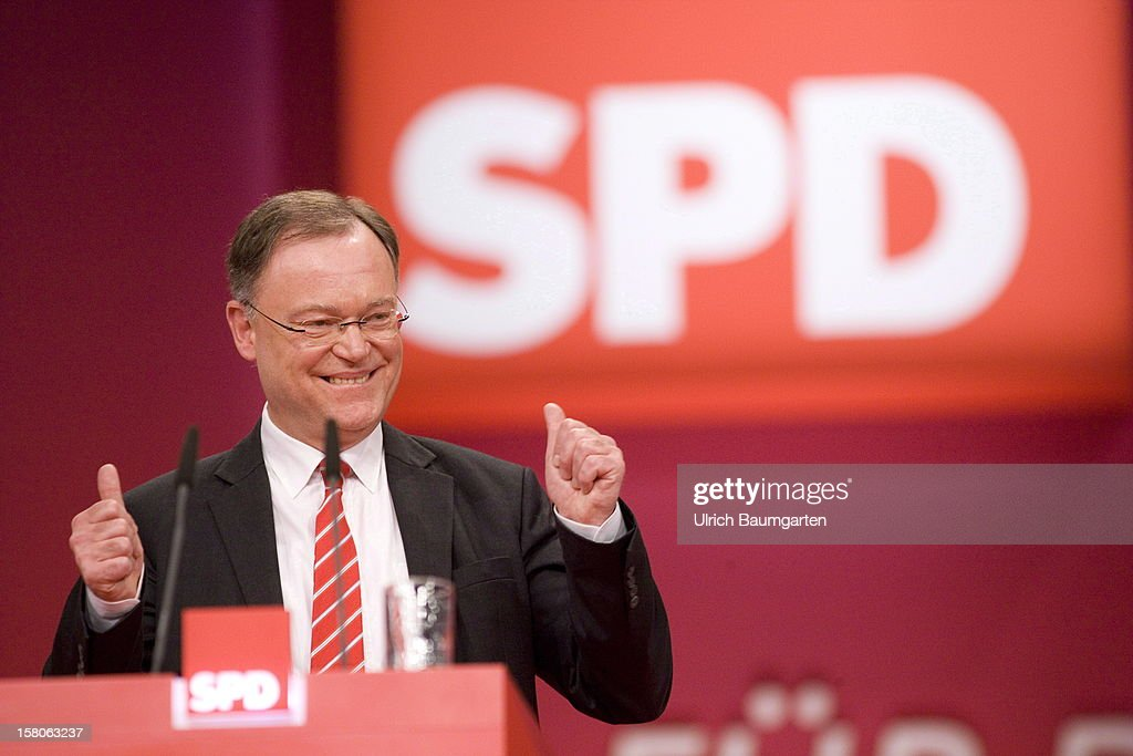 Stephan Weil (SPD), leading candidate for the state election in Lower Saxony, after his speech at the SPD federal party convention on December 9, 2012 in Hanover, Germany. The SPD is convening to set its policy course for the next year and to celebrate Steinbrueck, who will run for chancellor in elections set for 2013.
