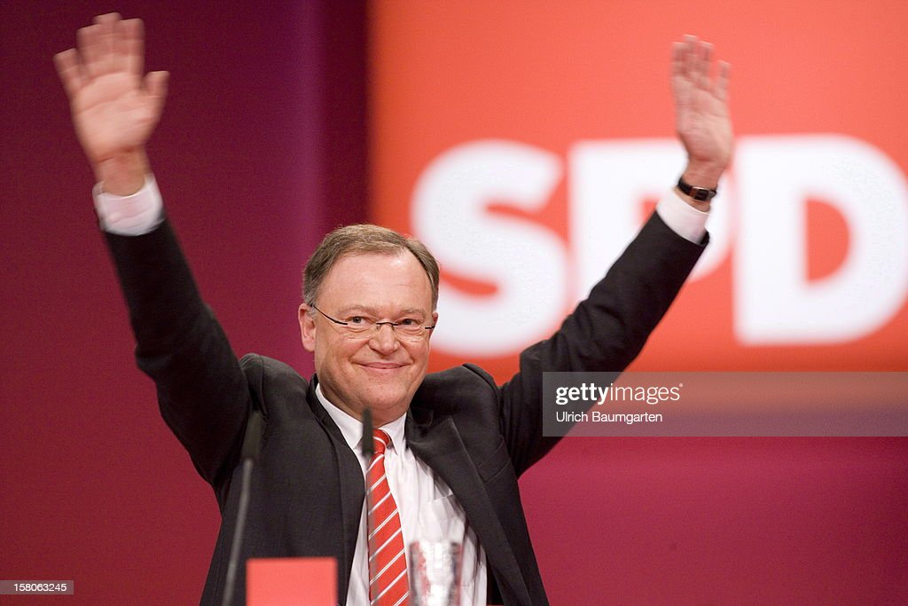 Stephan Weil (SPD), leading candidate for the state election in Lower Saxony, during his speech at the SPD federal party convention on December 9, 2012 in Hanover, Germany. The SPD is convening to set its policy course for the next year and to celebrate Steinbrueck, who will run for chancellor in elections set for 2013.