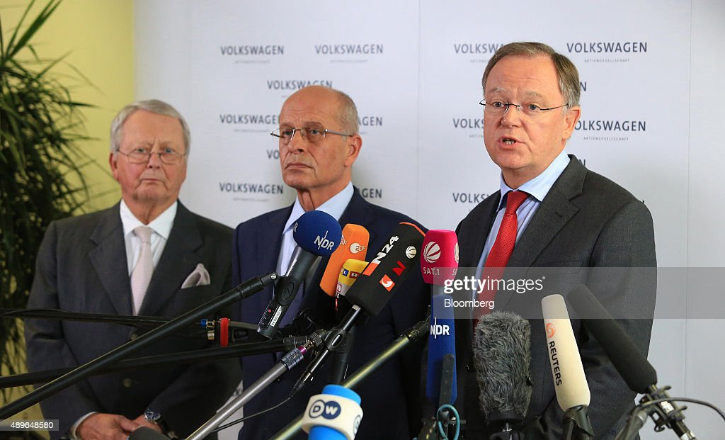 <a gi-track='captionPersonalityLinkClicked' href=/galleries/search?phrase=Stephan+Weil&family=editorial&specificpeople=4683319 ng-click='$event.stopPropagation()'>Stephan Weil</a>, prime minister of the German state of Lower Saxony, right, speaks as the resignation of VW Chief Executive Officer Martin Winterkorn is announced, while <a gi-track='captionPersonalityLinkClicked' href=/galleries/search?phrase=Berthold+Huber&family=editorial&specificpeople=2087477 ng-click='$event.stopPropagation()'>Berthold Huber</a>, interim chairman of Volkswagen AG (VW), center, and Wolfgang Porsche, chairman of Porsche SE, left, look on at the automobile manufacturer's headquarters in Wolfsburg, Germany, on Wednesday, Sept. 23, 2015. Winterkorn, who during nearly a decade at the helm catapulted VW to the top spot in global sales, stepped down after admitting the automaker cheated on U.S. emissions tests. Photographer: Krisztian Bocsi/Bloomberg via Getty Images