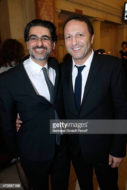 Stephane Asbanian and Arthur Essebag attend the Concert in Memory of 100th Anniversary of Armenian Genocide at Theatre du Chatelet on April 21 2015...