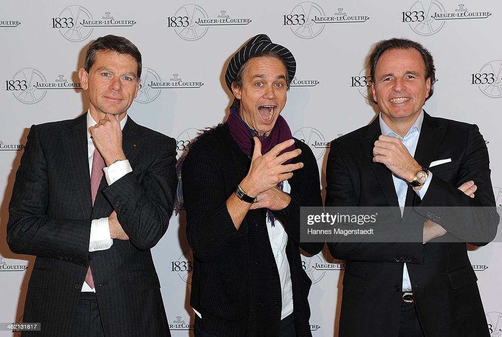 Stephane Belmont, actror <a gi-track='captionPersonalityLinkClicked' href=/galleries/search?phrase=Ralf+Bauer&family=editorial&specificpeople=628547 ng-click='$event.stopPropagation()'>Ralf Bauer</a> and Jaeger-LeCoultre General Manager Northern Europe Juergen Bestian attend Jaeger-LeCoultre Cocktail at Charles hotel on November 26, 2013 in Munich, Germany.