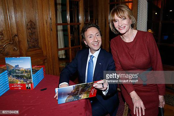 Stephane Bern and Eve Ruggieri attend Stephane Bern signs his Book 'Mon Luxembourg' at Residence of the Ambassador of Luxembourg on November 9 2016...