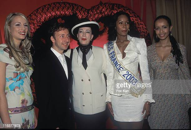 Stephane Bern and Genevieve De Fontenay with Miss France 2001 Elodie Gossuin Miss France 2003 Corinne Coman Miss France 2000 Sonia Rolland
