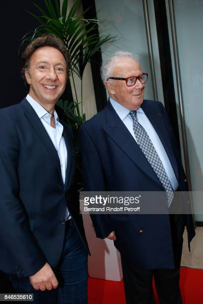 Stephane Bern and Philippe Bouvard attend the RTL RTL2 Fun Radio Press Conference to announce their TV Schedule for 2017/2018 at Elysee Biarritz at...