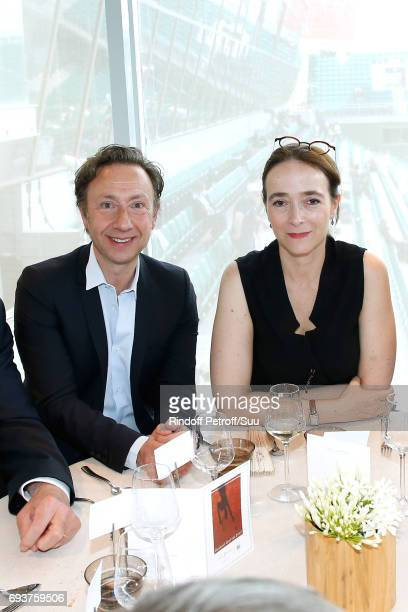 Stephane Bern and President of France Television Delphine Ernotte attend the 'France Television' Lunch during the 2017 French Tennis Open Day Twelve...