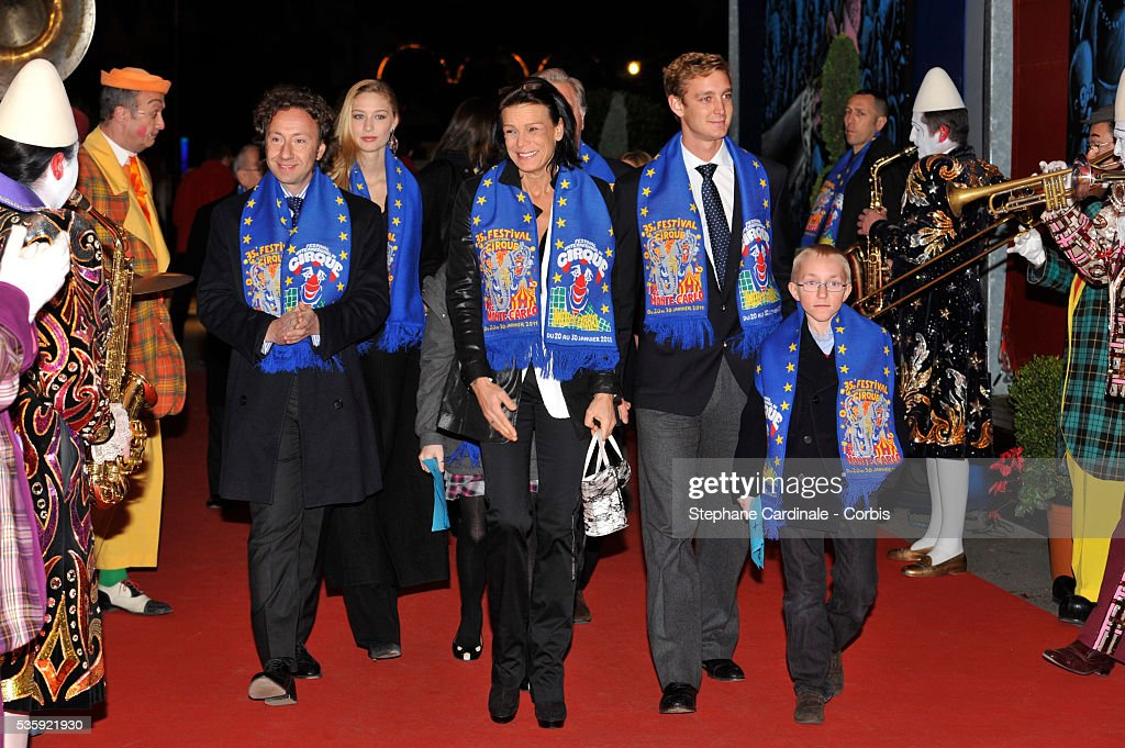Stephane Bern, Beatrice Borromeo, Princess Stephanie of Monaco and Pierre Casiraghi attend the 35th International Circus Festival 2011, in Monaco.