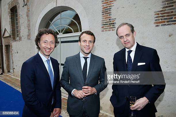 Stephane Bern Emmanuel Macron and Prince Jean d Orleans attend the 'College Royal et Militaire de ThironGardais' Exhibition Rooms Inauguration on...