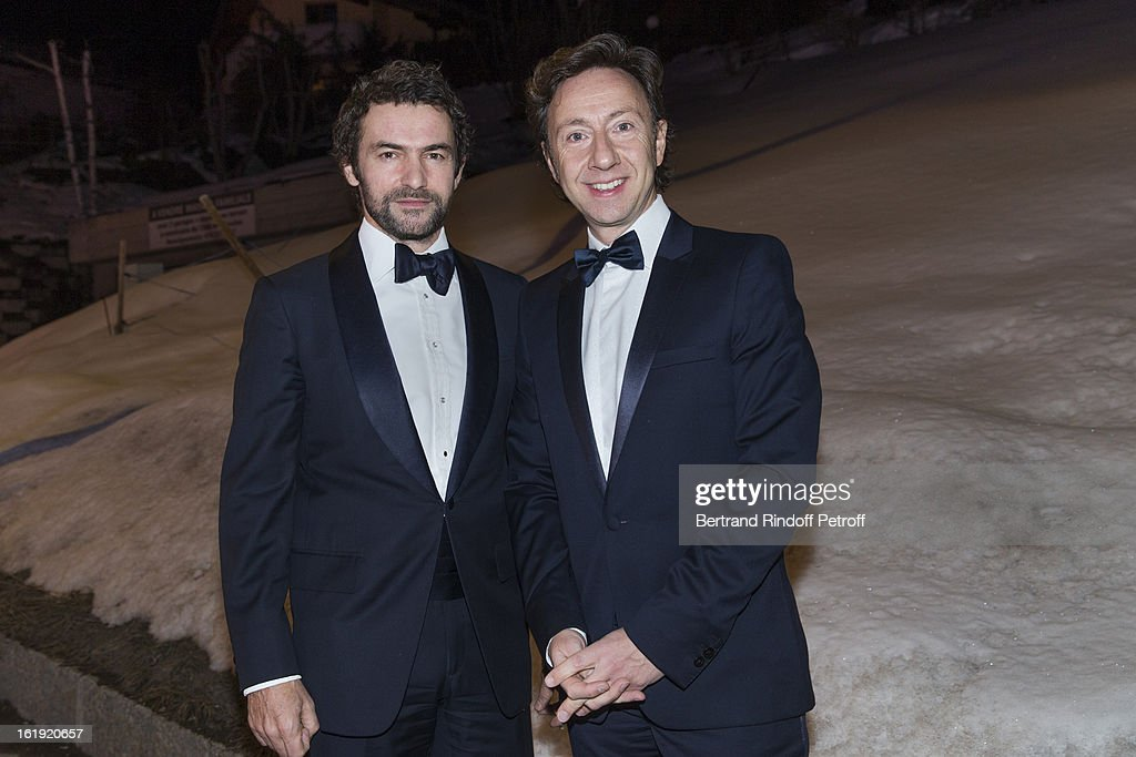 Stephane Bern, French journalist and author, and Cyril Vergniol, architect, attend the 30th edition of 'La Nuit Des Neiges' Charity Gala on February 16, 2013 in Crans-Montana, Switzerland.