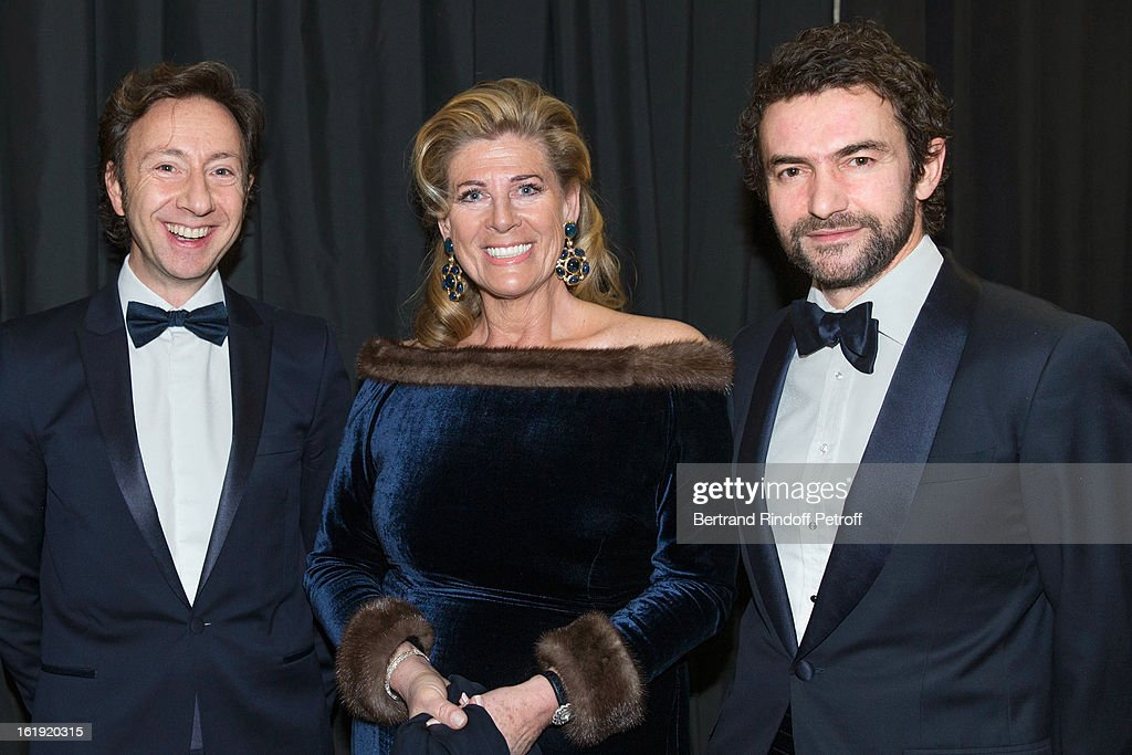 Stephane Bern, French journalist and author, Princess Lea of Belgium, acting as honorary chairperson of the event, and Cyril Vergniol attend the 30th edition of 'La Nuit Des Neiges' Charity Gala on February 16, 2013 in Crans-Montana, Switzerland.