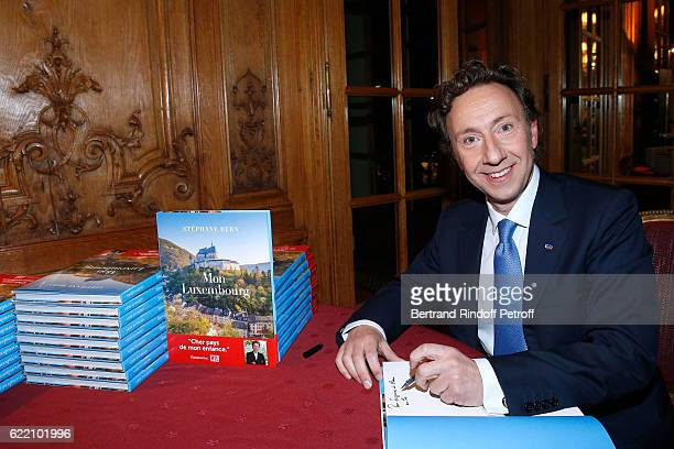 Stephane Bern signs his Book 'Mon Luxembourg' at Residence of the Ambassador of Luxembourg on November 9 2016 in Paris France
