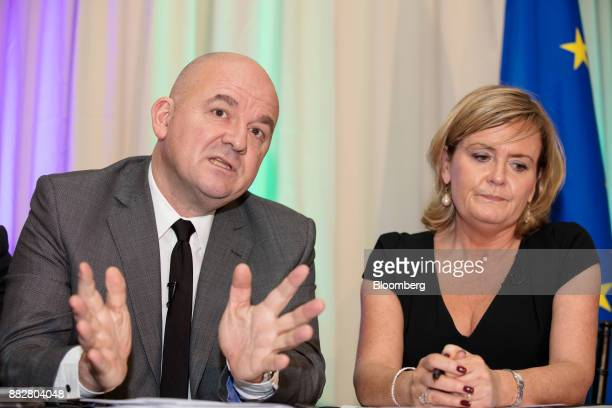 Stephane Boujnah chief executive officer Euronext NV gestures while speaking as Deirdre Somers chief executive officer of Irish Stock Exchange Plc...