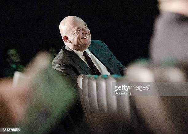 Stephane Boujnah chief executive officer of Euronext NV reacts as he sits in the audience during the exchange's annual news conference in Paris...