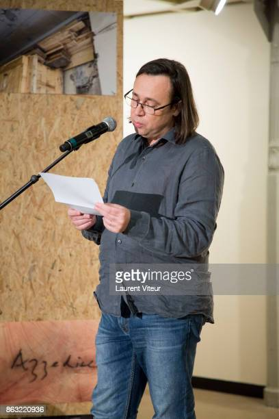 Stephane Brauschweig reads 'Tombeau pour Cinq Cent Mille Soldats' for 50th anniversary of the book at Azzedine Alaia Gallery on October 19 2017 in...
