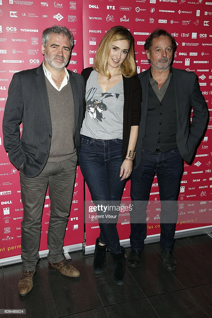 Stephane Brize, Julie Gayet and Christophe Aleveque attend 'Courts Devants' Paris Festival at Mk2 Bibliotheque on November 29, 2016 in Paris, France.