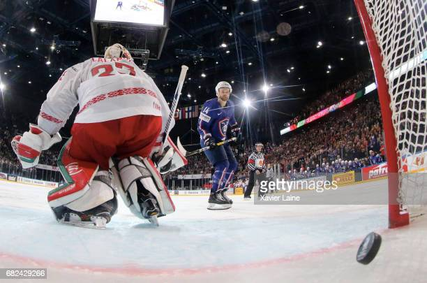 Stephane Da Costa of France score the penalty shoot of the victory during the 2017 IIHF Ice Hockey World Championship game between France and Belarus...