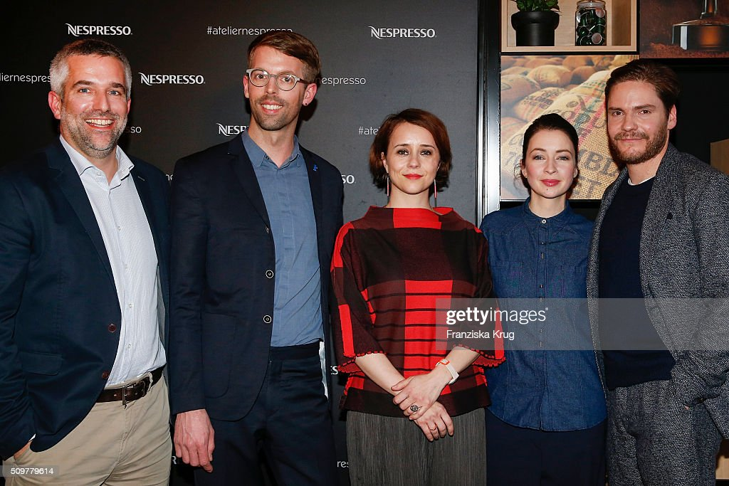 Stephane Detaille, Florian Weghorn, Gaelle Denis, <a gi-track='captionPersonalityLinkClicked' href=/galleries/search?phrase=Loretta+Stern&family=editorial&specificpeople=636186 ng-click='$event.stopPropagation()'>Loretta Stern</a> and Daniel Bruehl attend the Nespresso 'Auf einen Kaffee mit...' on February 12, 2016 in Berlin, Germany.