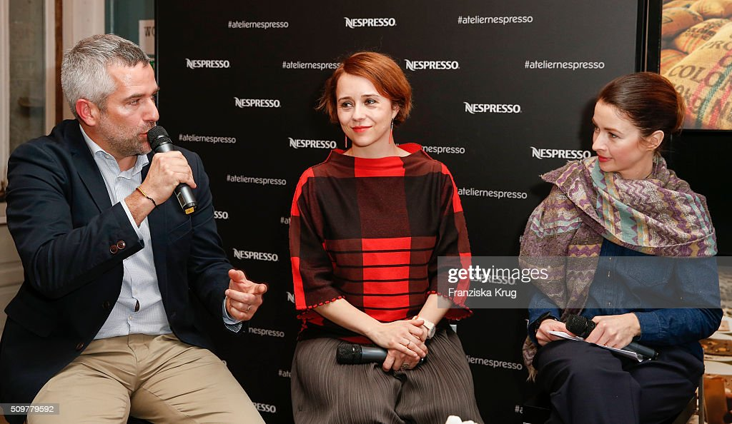 Stephane Detaille, Gaelle Denis and <a gi-track='captionPersonalityLinkClicked' href=/galleries/search?phrase=Loretta+Stern&family=editorial&specificpeople=636186 ng-click='$event.stopPropagation()'>Loretta Stern</a> attend the Nespresso 'Auf einen Kaffee mit...' on February 12, 2016 in Berlin, Germany.